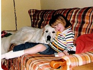 Echo, our original Great Pyrenees, and I, 1979